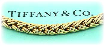 Tiffany & co. 14k yellow gold Russian wheat link chain bracelet