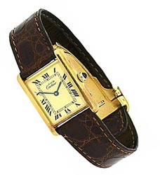 Must De Cartier Tank France Sterling Gold Vermeil Watch Brown